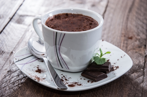 Mint hot chocolate is the perfect holiday beverage.