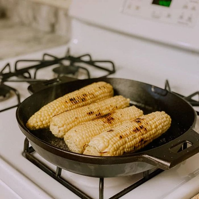 Corn in a cast iron pan