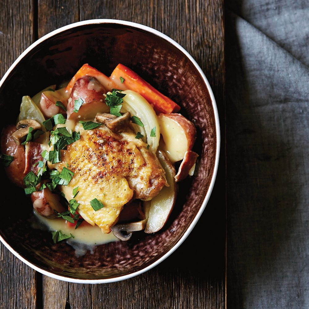 Braised Chicken Thighs With Root Vegetables